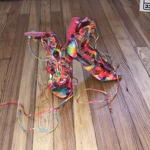 Liliana Pink Multi Color Tie Up Sandal Size 8